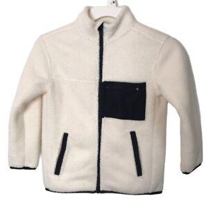 All In Motion NWT Boys' Cozy Fleece Full Zip Sherpa Sweatshirt in Cream XS 4/5