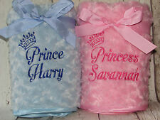 Personalised Baby Blanket Princess Prince Embroidered Name Boy/Girl Gift Crown