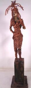 Tall Vintage Copper Wire Sculpture of a Woman W/ Umbrella with a bird on top 28