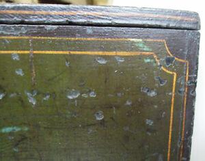 Very Rare Original Antique Painted Pine Coaching Locking Document Letter Chest.