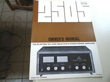 RARE McINTOSH MC2505 SOLID STATE STEREO POWER AMPLIFIER OWNERS MANUAL
