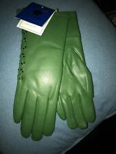 KAIDI Green LEATHER GLOVES WITH FAUX FUR LINING SIZE 6.5 NWT Italy