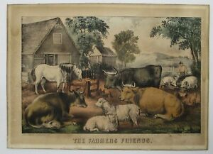 The Farmers Friends Original Currier & Ives Lithograph In Original Frame