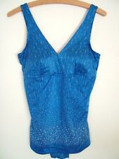 Vintage 70s M&S silky satin blue spot print swimsuit, UK 16 L