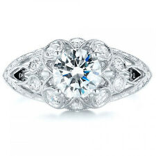 1.60 Tcw Vintage Shoulders Lined With Milgrain CZ Engagement Ring 14k White gold