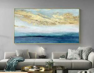 """HH172 Hand-painted gold foil gold powder scenery oil painting Unframed 48"""""""