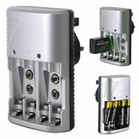 FAST Rechargeable Compact Multi Battery Charger for AA/AAA/9V Ni-Mh UK Socket 1X
