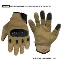 Zephyr Tactical Full Finger Carbon Fiber TOUCHSCREEN Gloves Tan Medium