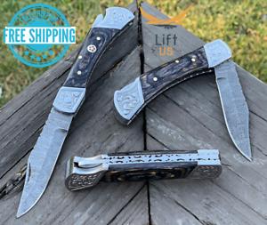 "Custom Handmade Damascus Steel Pocket Knife Folding Blade Black Wood Hunting 7"""