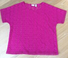 Chico's Blouse Crocheted Pink Size 2