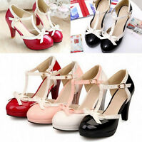 Ladies Elegant Patent Leather Bowtie T-Bars High Heel Platform Sandals Plus Size