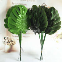 12pcs Simulated Monstera Branch Palm Turtle Leaf Leaves Home Party Decor UK