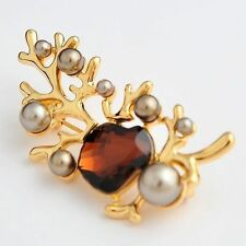 Crystal Yellow Gold Plated Costume Brooches & Pins