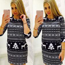 Women Winter Knitted Jumper Christmas Sweater Pullover Knitwear Long Tops Dress