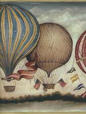 AMERICANA  HOT AIR BALLOONS WITH AMERICAN FLAGS  WALLPAPER BORDER