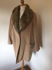 Windsmoor Coat UK 16 Beige Camel Wool Angora Blend Faux Fur Collar Autumn Winter