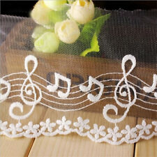 1 Yard Embroidered Cotton Mesh Music Lace Trim Wedding Ribbon Craft Sewing Decor