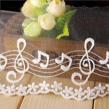 1 Yard Embroidered Cotton Mesh Music Lace Trim Wedding Ribbon Craft Sewing DIY