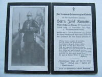 RARE WWI German Death Card, Rifle, Bayonet & Equipment, DIRECT HIT, COLORED REV.