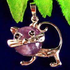 Natural Brazil Amethyst Wrapped Tibetan Silver Cat Pendant Bead S65144