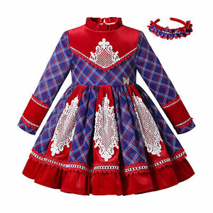 Pettigirl Kids Christmas Dresses Girls Party Dress 2 3 4t 5 6 8 10 12 + Hairband