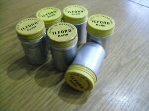 Vintage Ilford Aluminium 35mm Empty Film Cannisters x6