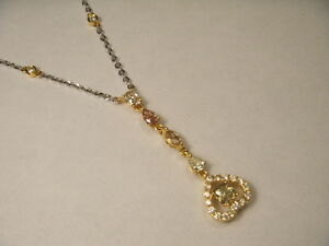14K 2-Tone Gold Fancy Color Champagne Yellow Diamonds Heart Station Necklace