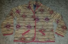 BEAUTIFUL AASTHA TAPESTRY AZTEC INDIAN STARBURST JACKET ~ NICE BUTTONS SZ L