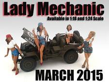 """LADY MECHANICS"" 4 PIECE FIGURE SET FOR 1:18 AMERICAN DIORAMA 23859,60,61,62"