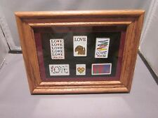 US POSTAGE LOVE STAMPS LOT OF 6 PORCELAIN IN WOOD GLASS FRAME PICTURE