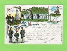 Early Gruss Aus Monrovia Liberia pc 1902 Senegal Loango Marseille Lm 3 Paquebot