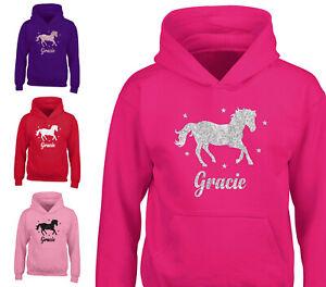 Childrens Personalised Glitter Horse Hoodie Riding School Hoody Girls Boys Gift