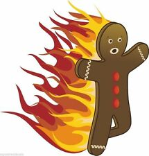 Gingerbread Man Cartoon On Fire Character Sticker Decal Graphic Vinyl Label V3