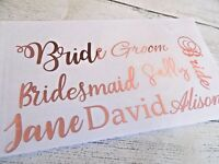 Personalised Rose Gold Name Sticker Baubles Vinyl Wine Glass Water Bottle Decal