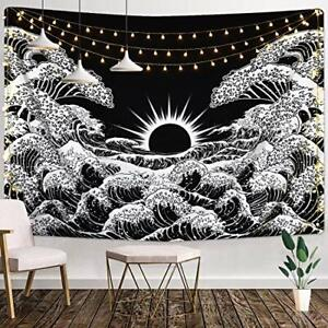 """SALE! Large 59x51"""" Great Ocean Wave Tapestry Sunset Black and White Wall Hanging"""
