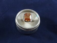 Ladies Amber Colored Rectangle CZ Fashion Ring w/ Silver Band - Size 8.5 (LL)
