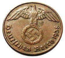 GERMAN WW 2 (Third Reich) original coin 2 Reichspfennig 1938 E