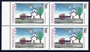 CHILE 1988 STAMP # 1327 MNH BLOCK OF FOUR CHRISTMAS 88'