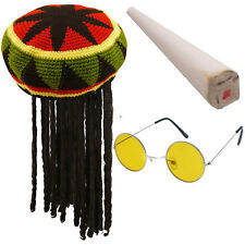 Adults Rasta Jamaican Hat Fake Spliff Yellow Glasses Caribbean Fancy Dress Set
