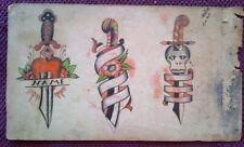 AMAZING RARE ORIGINAL 2-sided 1920-30s CLASSIC  BOWERY TATTOO FLASH SHEET