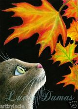 Art print 5x7 Cat 442 fall autumn maple leaf from original painting by L.Dumas