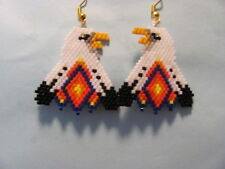 Beaded Bald Eagle with double feather dangling earrings
