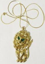 collier vintage couleur or pendentif grand lion cristal navette verte 4281