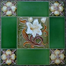 ENGLAND ANTIQUE ART NOUVEAU MAJOLICA 9-SET TILE C1900