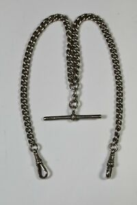 SUPERB ANTIQUE CHUNKY SOLID SILVER DOUBLE ALBERT POCKET WATCH CHAIN  AB2