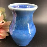 "Artist Signed Studio Pottery Blue  Glaze Vase Handcrafted 5 1/4"" Tall Home Decor"