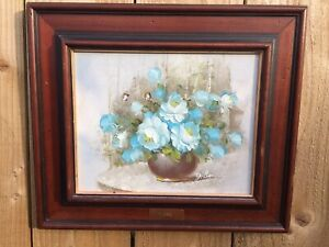 Roses Still Life Oil On Canvas Signed Y.Beverly, Framed Floral Paintings, Flower