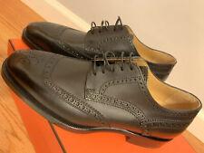 NIB NEW Hermes Mens Derby Leopold Veau Noir Black Oxfords Leather Shoe Size 39.5