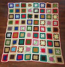 "Crochet Granny Squares Afghan White W/ Rainbow 51""x57"" Lap Blanket Throw"