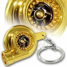 JDM Gold Turbo Charger Bearing Spinning Turbine Key Chain Ring Key Fob